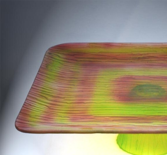 Square Cake Pedestal , Glass Pedestal , Cake Stand,  Pedestal Dish, Lime green, merlot, brick red, hand painted