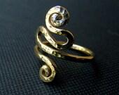 Gold filled Ring, long gold ring, Gold Spiral Snake ring, boho ring, ethnic ring, statement ring, oriental ring, size 5 6 7 8 9 10 11 1/2