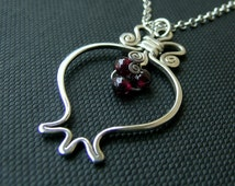 Sterling silver RIMON necklace, silver pomegranate pendant, handcrafted pomegranate necklace, silver & garnet stone, jewish gift, judaica
