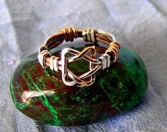 STAR of DAVID ring silver and gold, gold silver magen david ring, 14k gold filled, sterling silver, david shield ring, judaica jewish gift