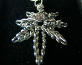 Sterling Silver HEMP-LEAF hand sculptured pendant
