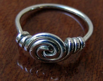 Sterling silver spiral ring, silver Vortex handcrafted ring, silver wire art ring, size 5 6 7 8 9 10 1/2, gift for teen girl,silver wire art