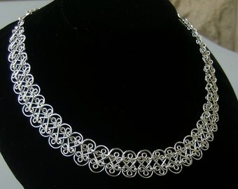 Sterling silver mesh necklace, handcrafted filigree silver choker, silver bridal necklace, silver wedding necklace, 925 statement necklace