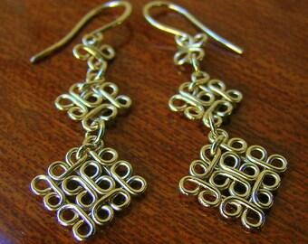 14k gold filled dangle earrings, long drop gold earrings, handcrafted gold filigree earrings, morrocan earrings, geometrical arabesque