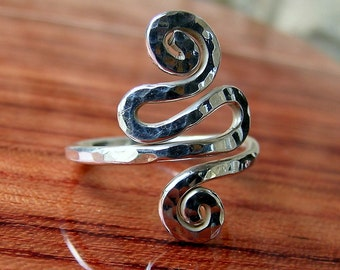 Sterling silver SPIRAL SNAKE ring, handcrafted spiral silver ring, statement ring, long ring, spiral ring, 925 silver women ring, gypsy ring