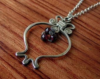 Silver pomegranate necklace, sterling silver RIMON pendant, handcrafted pomegranate necklace, silver & garnet stone, prosperity abundance