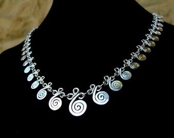 Sterling silver spirals and clovers filigree necklace, silver necklace 925, hancrafted filigree spirals, silver mesh necklace, adjustable