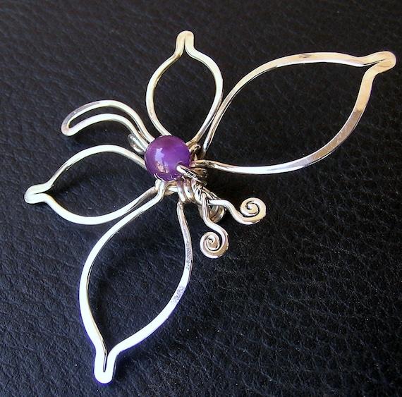 silver Butterfly Brooch, Sterling silver Amethyst Buttrerfly pin, Amethyst butterfly silver brooch, Butterfly silver jewelry, Butterfly gift