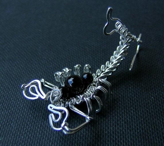 Sterling silver SCORPION earrings, scorpion silver earrings, silver scorpio dangle earrings-silver wire art insect-gothic halloween earrings