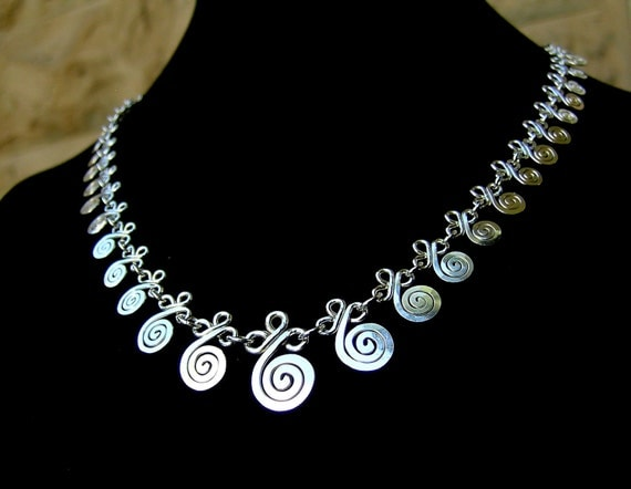 Sterling silver spirals and clovers filigree necklace