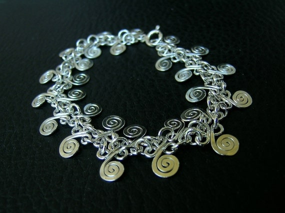 Sterling silver CLOVERS and SPIRAL handcrafted bracelet