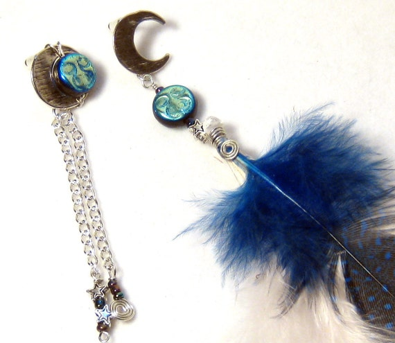 Blue White Feather Crescent Moon Wire Wrapped Post Earrings