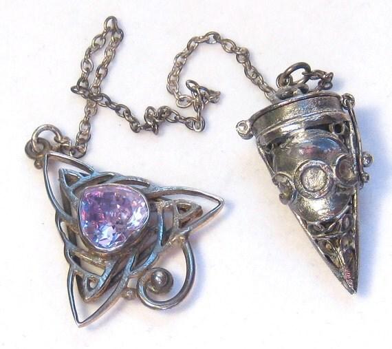 Celtic Purple Crystal Triple Moon Antiqued Sterling Silver Pendulum Divination