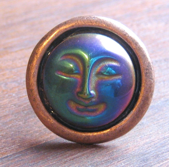Rainbow Hematite Full Moon Face Antiqued Copper Ring Adjustable