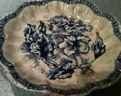 Price reduction: Antique Flow Blue Dunn Bennett & Co. Pottery Bowl Circa 1878