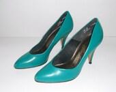 Aqua Blue Green High Heel Shoes 6.5  Women's Pumps 6-1/2B Fanfares by Connie Brown Shoe Company Treasury Item