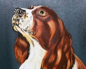 Dog Painting Springer Spaniel Oil Painting Picture 16x20 Canvas Large Framed Art Vintage Treasury Item