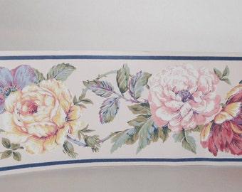 Floral Wallpaper Border Vintage Textured Flowers Wallpaper Border Pastel Flowers