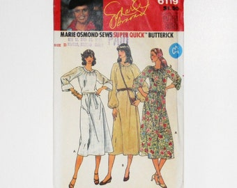 Women's Clothing Butterick 6119 Marie Osmond Sews Super Quick Size B Dress 10 12 14 Vintage Sewing Pattern Dress