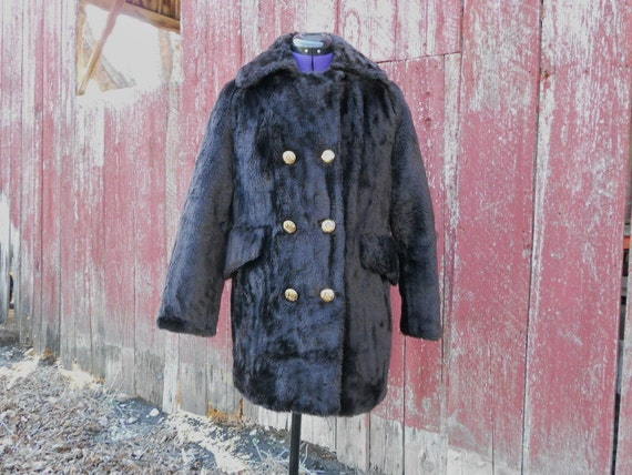 Faux Fur Coat Women's Winter Outerwear Dark Brown Quilted Lining Machine Washable Treasury Item