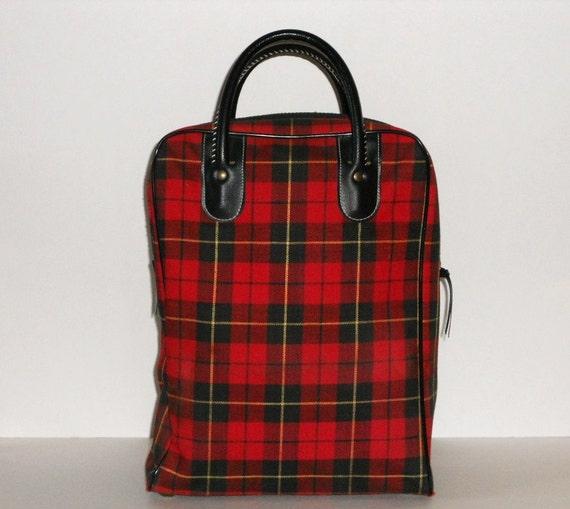 Plaid Tote Bag Purse Vintage Plaid Thermos Bag Red Black Yellow