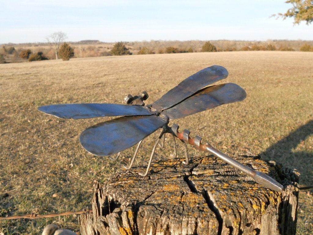 Dragonfly Metal Sculpture Yard Art Garden Art Found Objects