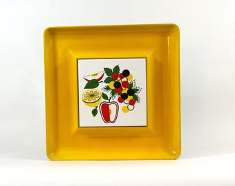 Vintage Modern Cheese Tray. Yellow Melamine, Modern, Groovy 70s, Snack