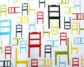 "ORGANIC cotton sateen Childrens Fabric -""Little Chairs"" (Fat Quarter 18""x 27"")"