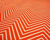 "Orange Chevron fabric - Upholstery Cotton Twill - 1 yard - 58"" wide- Fabric by the yard"
