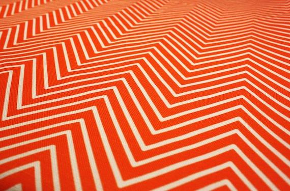 "Orange Chevron fabric - Upholstery Cotton Twill - 1 yard - 58"" wide- Fabric by the yard"