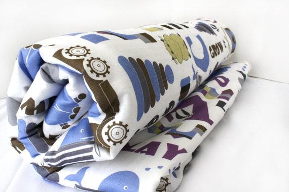 Organic cotton baby blanket 54x36, designer fabric, baby boy