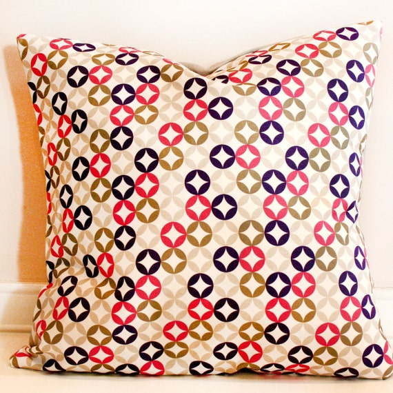 Decorative pillow cover, cushion cover, pillowcase, Multi-color circles- 16x16 Grey and colorful- ships 10 days after order