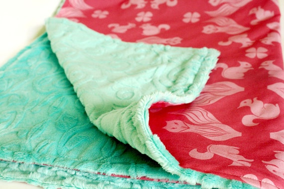 "Foxy Damask Baby Blanket - Pink and Turquoise baby blanket, 35""x29"""