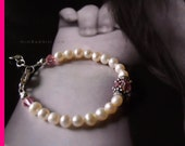 Genuine Pearl Baby Bracelet TIFFANY KEEPSAKE Bracelet with Fresh Water Pearls & Sterling Silver 925 and Pink Swarvoski... by miniBambini.com