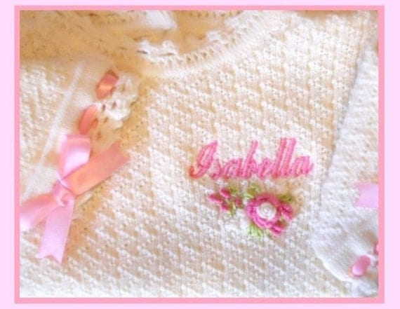 SALE Baby Girl 6m Knit Ivory Cream Hand Crocheted Tunic & Legging Victorian Style with Hand Embroidered Antique Rose