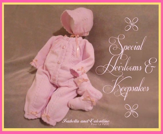 Newborn Girls Pink DAINTY BOWS 3pc Knit Come Home Outfit with Heirloom Pink Knit Baby Bonnet Girls NB.  Isabella & Valentino