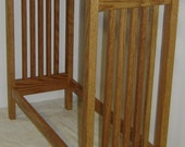 Hand Crafted Custom Made New Solid Oak Wood Mission Style Quilt Rack Stand / Blanket Stand or Bathroom Towel Rack Stand Free Standing