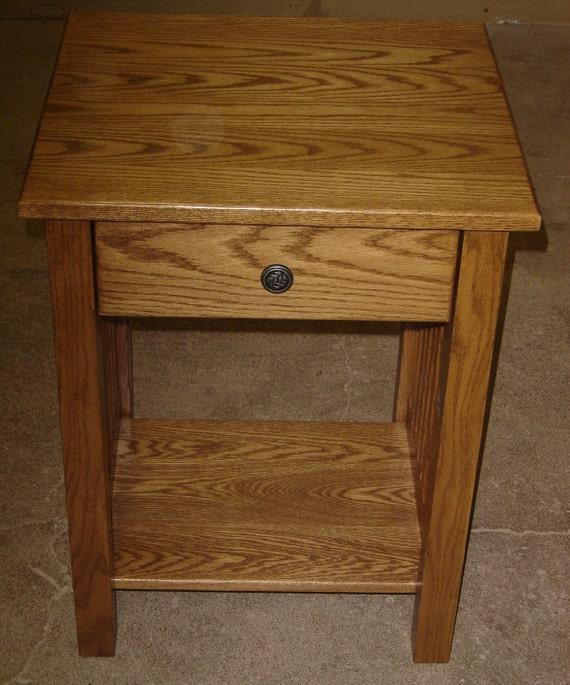 Hand Crafted Custom Made New Mission Style Solid Oak Wood Bedside / Bedroom / Living Room End Table / Night Stand