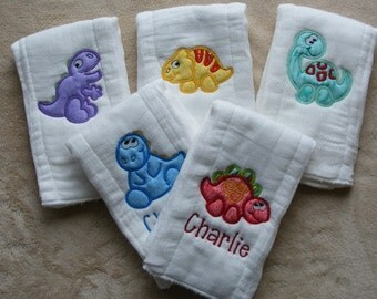 Personalized Dinosaurs Burp Cloth Set
