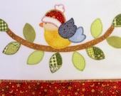 Kitchen towel - bird applique - Christmas colors & theme