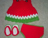 Crochet Watermelon baby dress