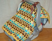 Infant Car Seat Cover    Could be custom-made    (Candlestick Maker)  yellow blue brown   best baby shower gift
