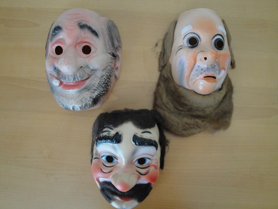 Set of 6 Vintage Halloween type Mask: Hobos and Witches