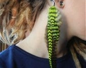 Bright Lime and Olive green feather EAR CUFF