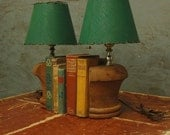 SALE/pair Wood handmade BOOKEND LAMPS...architectural salvage