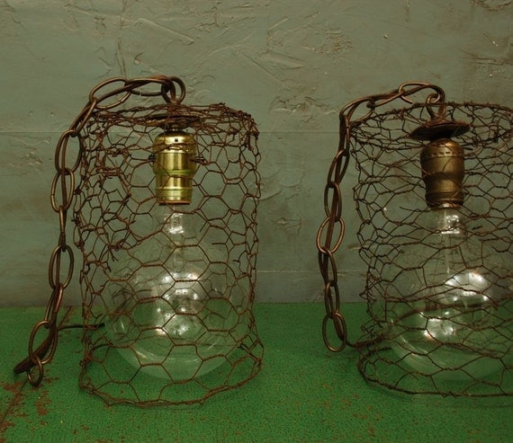 Current Obsession Lantern Chandeliers: Items Similar To Antique CHICKEN WIRE Pendant Light On Etsy