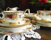 Antique Tea Cups Arklow Irish Bone China 16pc Tea Cups Teacups Creamer Sugar Platter 3130