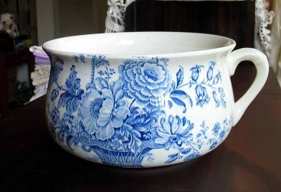 Vintage Blue And White Chamber Pot Reproduced Royal Crownford