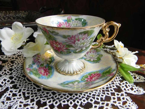 Water Lily Tea Cup Teacup and Saucer Ucago Pearlized Footed July Made in Japan 3096