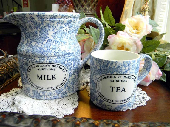 Chintz Transferware Pitcher and Mug by Burgess and Leigh LTD England Milk and Tea 5151